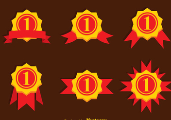 First Place Ribbon Gold Icons - vector gratuit #349359