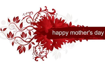 Red Floral Mothers Day Card - vector gratuit #349469