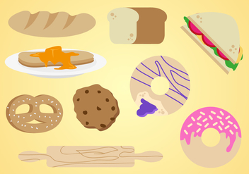Bagel Bakery Elements Vector - Free vector #349499