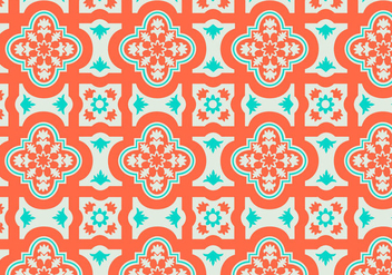 Orange and Teal Moroccan Pattern Background Vector - Free vector #349539