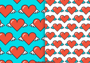Free Heart Wings Vector Pattern - Free vector #349549