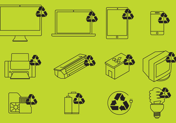 Electronic Recycling Icons Vector - vector gratuit #349689