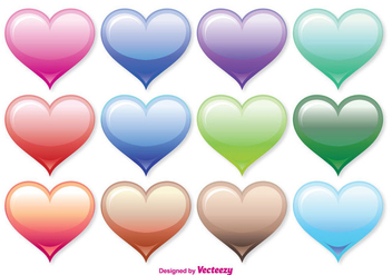 Assorted Color Heart Vector Set - Kostenloses vector #349819