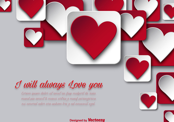 Valentine's day background with hearts - vector gratuit #349869