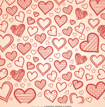 hand drawn hearts background - vector gratuit #349909