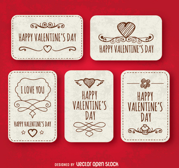 Happy valentine's day labels - vector gratuit #349919