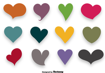 Colorful Hearts Vector Set - vector gratuit #350139