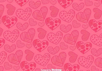 Hand Drawn Hearts Pattern - vector gratuit #350479