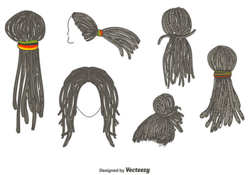 Dreadlocks Hairstyle Vector - бесплатный vector #350639