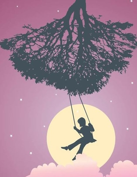Girl on Cradle Tree Silhouette - vector gratuit #350979