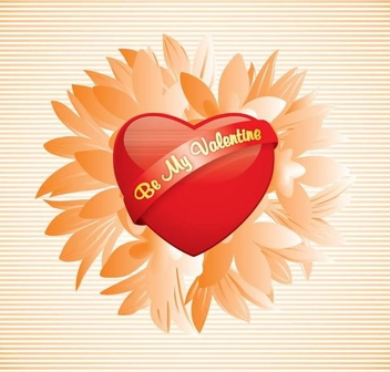 Be my Valentine Heart Flower - vector gratuit #351039