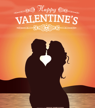 Valentine's lovers kissing at sunset - vector gratuit #351159