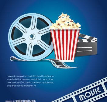 Movie vector with popcorn, tape and clapper - vector gratuit #351179