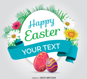 Happy Easter rounded symbol with eggs and flowers - vector gratuit #351299