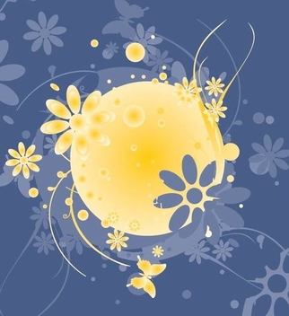 Flower Swirls Butterfly Sphere Background - Free vector #351319