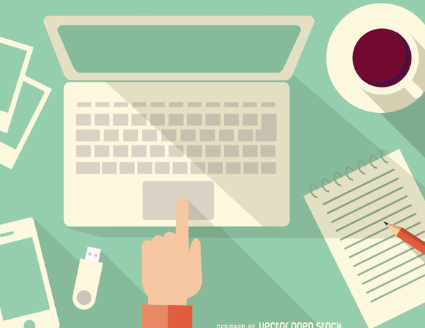 Desk with computer, notebook, coffee and smartphone - Kostenloses vector #351469