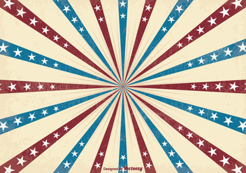 Retro Patriotic Sunburst Vector Background - Free vector #351709