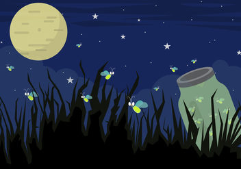 Illustration of Firefly Bugs at Night in Vector - бесплатный vector #351769
