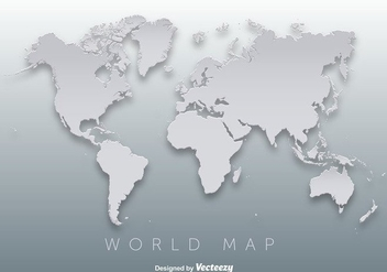 World Map 3D Silhouette Vector - Free vector #351869