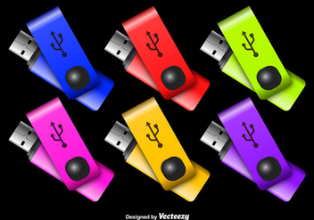 Colorful Pen Drive Vectors - Free vector #351879