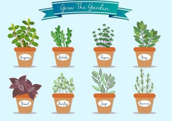 Grow The Garden Plant Vectors - vector gratuit #352009