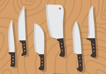 Knife Sets On Wood Vector - Free vector #352019