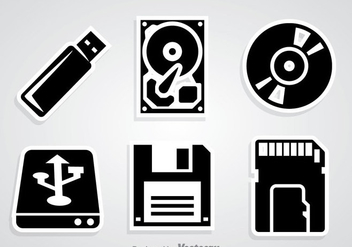 Digital Storage Black Icons - vector gratuit #352169