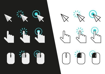 Mouse Click Icons Vector - бесплатный vector #352219