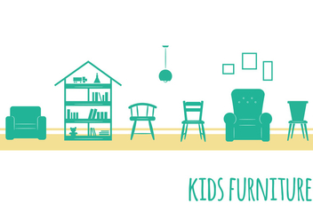 Kids Furniture Icons - vector #352629 gratis