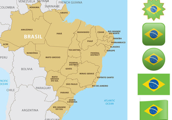 Brazil Map And Flags - Kostenloses vector #352709