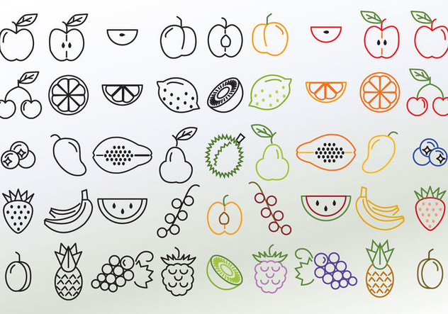 Set of Different Linear Fruit Vectors - Kostenloses vector #352789