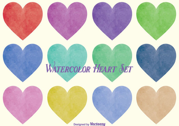 Watercolor Style Vector Heart Set - бесплатный vector #352799
