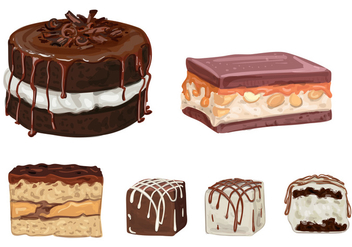 Chocolate Cakes and Truffles Vectors - vector gratuit #352909