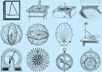 Old Style Drawing Sun Dials - vector gratuit #352989