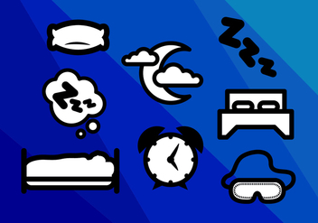 Mattress Sleep Nights Icons Vector - vector gratuit #353019