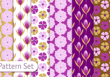Floral Decorative Pattern Set - vector gratuit #353089