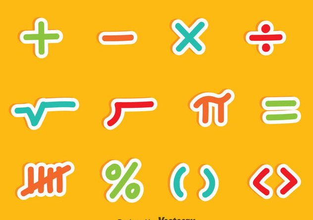 Math Symbols Colorful Vector Sets 353109