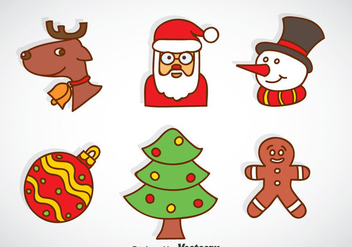 Christmas Cartoon Icons Vector - бесплатный vector #353269