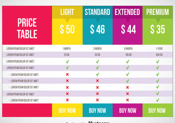 Pricing Table Vector - Kostenloses vector #353319
