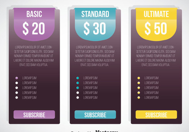 Pricing Table Template Vector - Kostenloses vector #353329