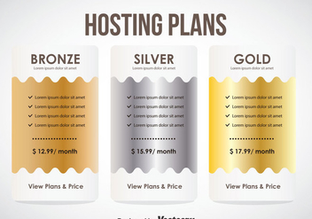 Hosting Plans Pricing Tbale Template Vector - Kostenloses vector #353349