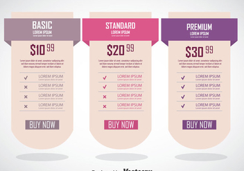 Pricing Table Banner Template - vector #353359 gratis