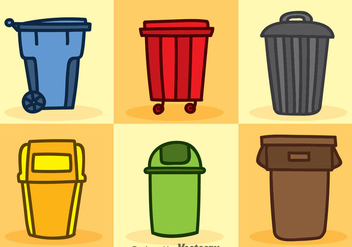Dumpster Cartoon Icons Vector Sets - Free vector #353439
