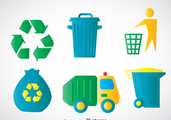 Garbage Colors Icons Vectors - vector gratuit #353489
