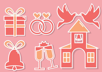 Wedding Icons Vector - Free vector #353629