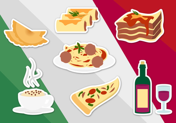 Italian Food Illustrations Vector - vector gratuit #353669