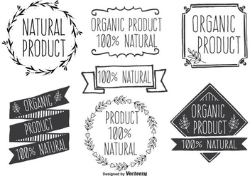 Hand Drawn Style Natural Product Vector Label Set - vector gratuit #353899