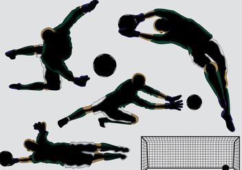 Goal Keeper Silhouette Vectors - Free vector #353909