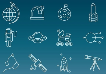 Space Technology Vector Icons - бесплатный vector #354079