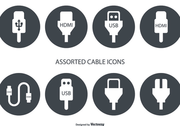 Assorted HDMI and USB Cable Vector Icons - бесплатный vector #354239